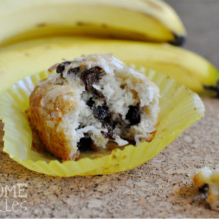 Banana Coconut Chocolate Chip Muffins