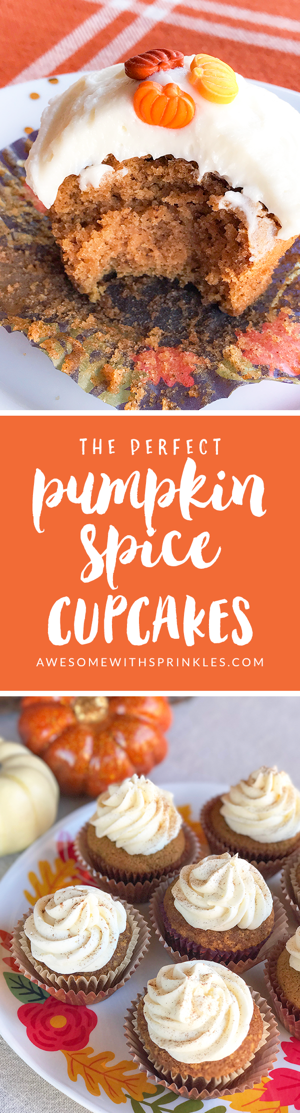 The Perfect Pumpkin Spice Cupcakes with Cinnamon Cream Cheese Frosting | Awesome with Sprinkles
