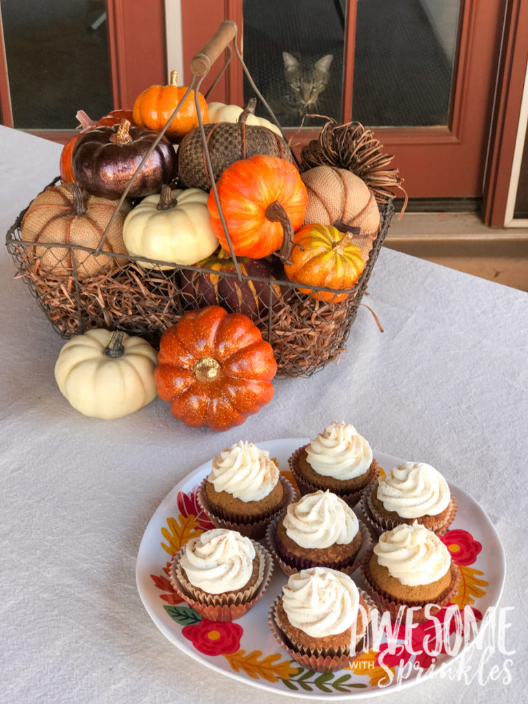 Pumpkin Spice Cupcakes with Cinnamon Cream Cheese Frosting   Awesome with Sprinkles