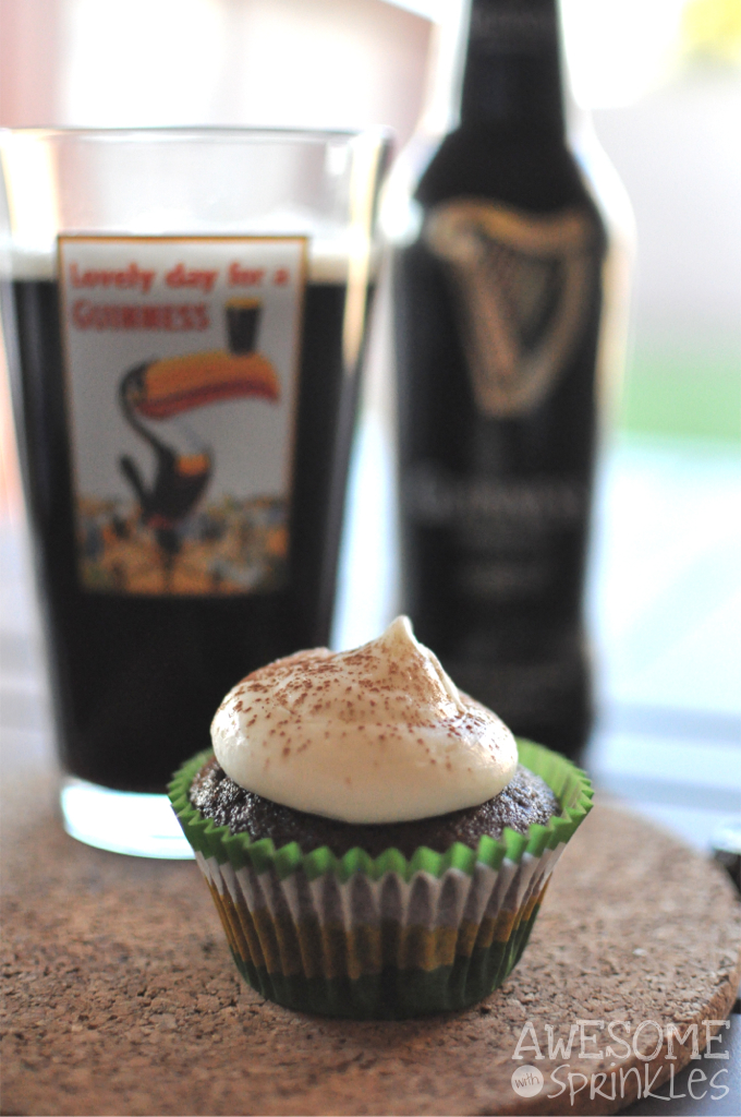 Guinness Stout Chocolate Cupcakes with Cream Cheese Frosting | Awesome with Sprinkles
