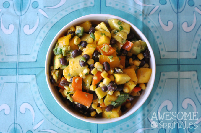 Mango, Black bean and Avocado Salad with Cilantro Lime Dressing ...