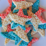 Red, White + Blue Star Crispies are easy and fun to make! Perfect for your next patriotic picnic! | Awesome with Sprinkles