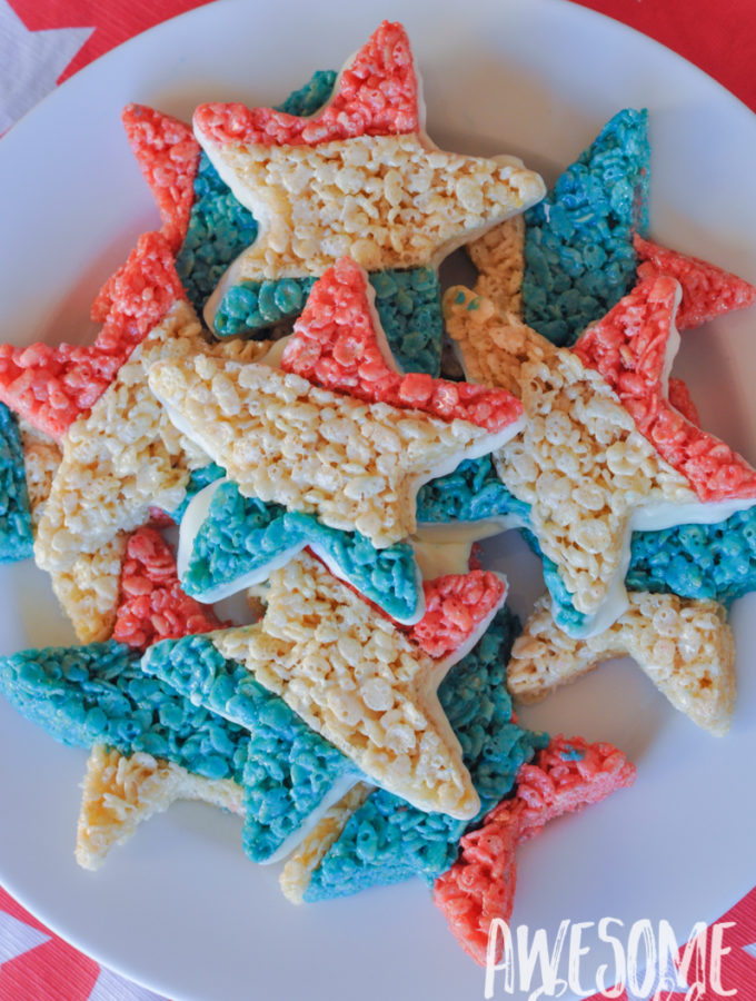 Red, White + Blue Star Crispies are easy and fun to make! Perfect for your next patriotic picnic!   Awesome with Sprinkles