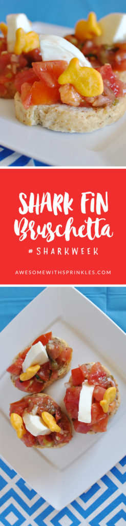 This fun and tasty Shark Fin Bruschetta is a perfect appetizer for #SharkWeek! | Awesome with Sprinkles