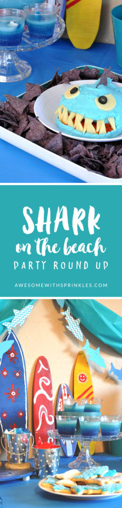 Party ideas and recipes that make a splash for a shark party! Fun theme for summer birthdays, pool parties, shark week viewing parties and more!  | Awesome with Sprinkles