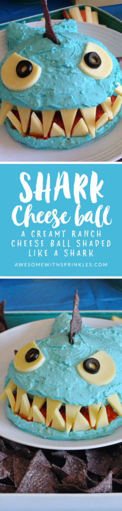 This adorable shark shaped ranch cheese ball is perfect for #SharkWeek and all of your summer pool parties! | Awesome with Sprinkles