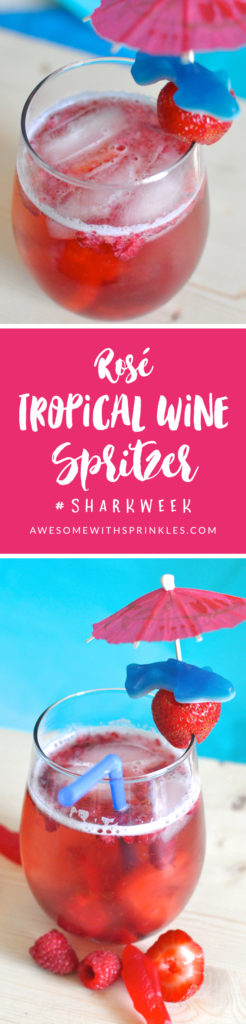Rosé Tropical Wine Spritzer inspired by #SharkWeek | Awesome with Sprinkles