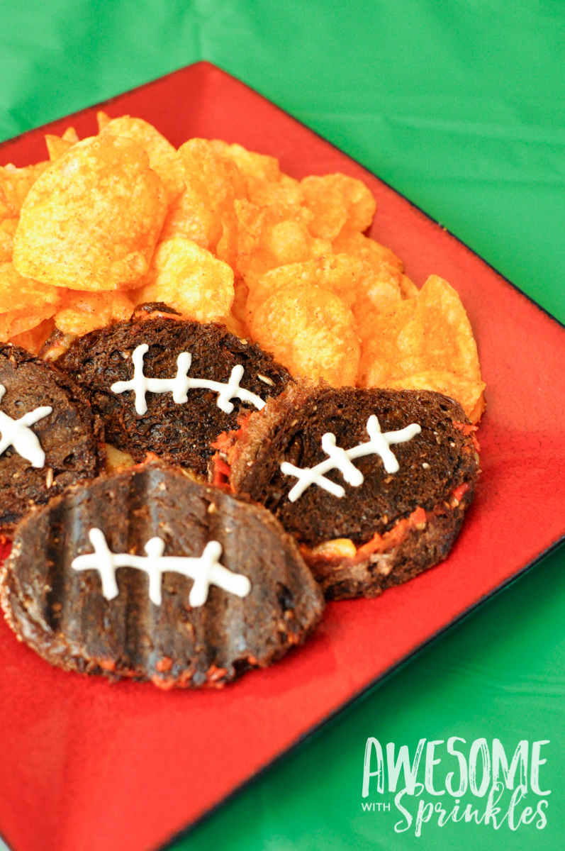 Mini Football Panini Grill Cheese Sandwiches | Awesome with Sprinkles