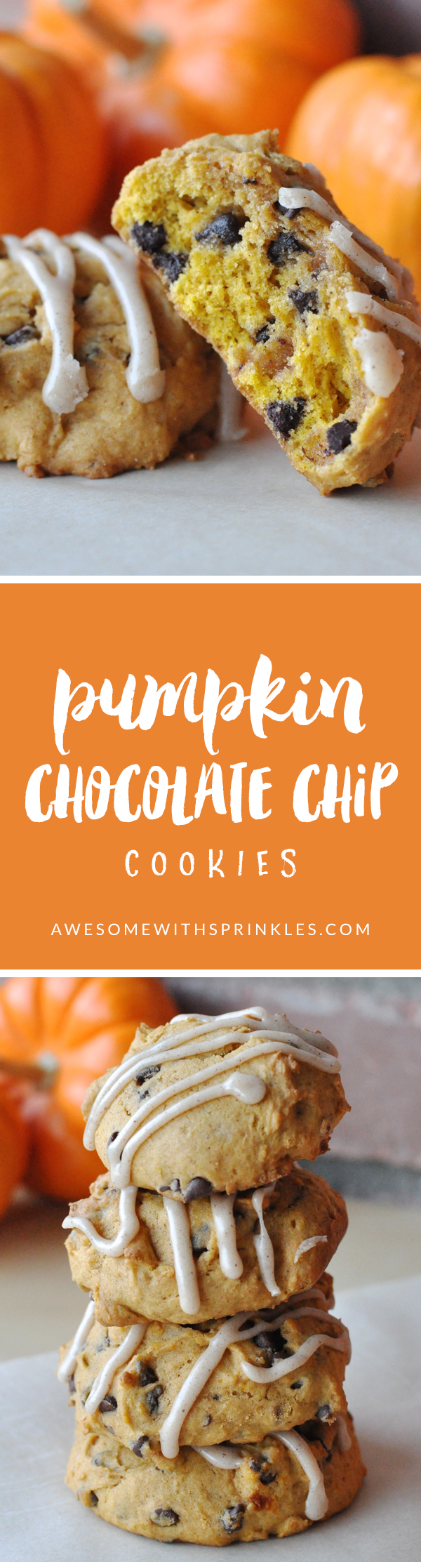Pumpkin Chocolate Chip Cookies | Awesome with Sprinkles