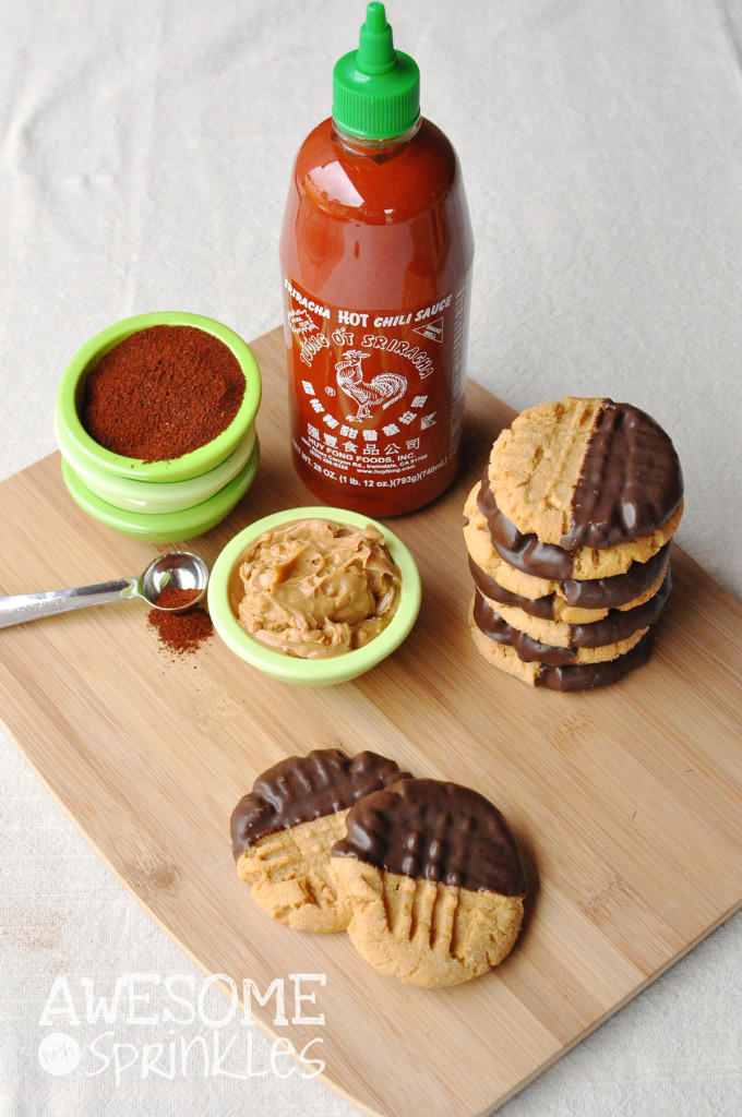 Chocolate Chili Dipped Sriracha Peanut Butter Cookies | Awesome with Sprinkles