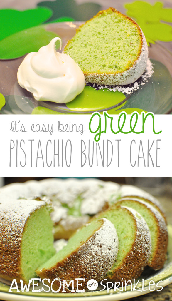 Easy Green Pistachio Bundt Cake for St. Patrick's Day | @awesomewith #green #stpaddysday #pistachio