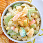 Classic Macaroni Salad with colored eggs for Easter