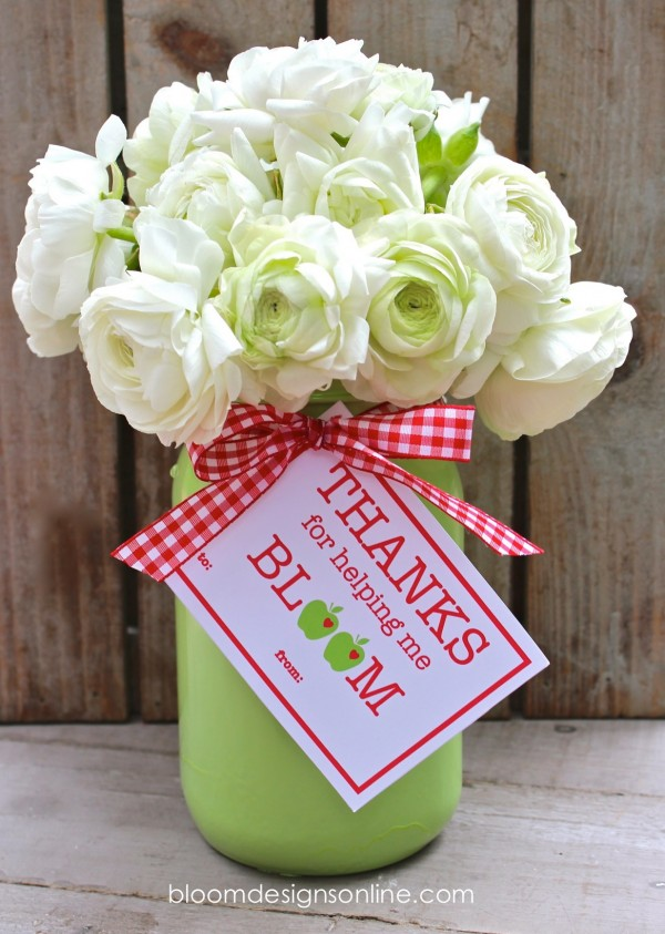Teacher Gifts - Flowers with tag
