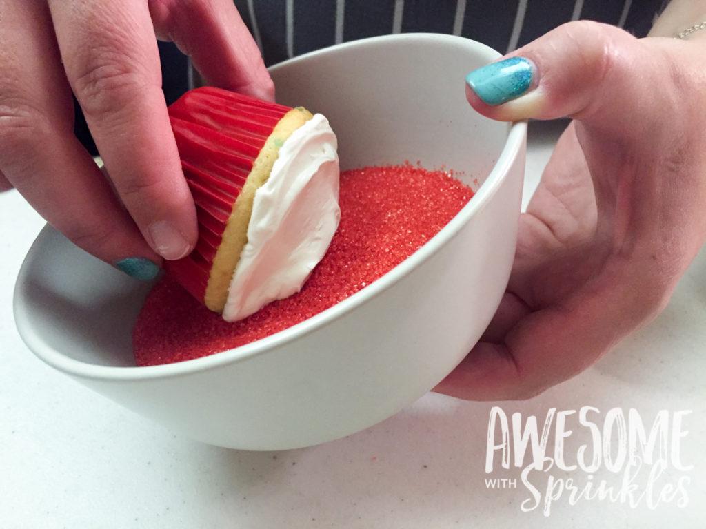 Poké Ball Cupcakes by Awesome with Sprinkles | Step 2: dip in sprinkles