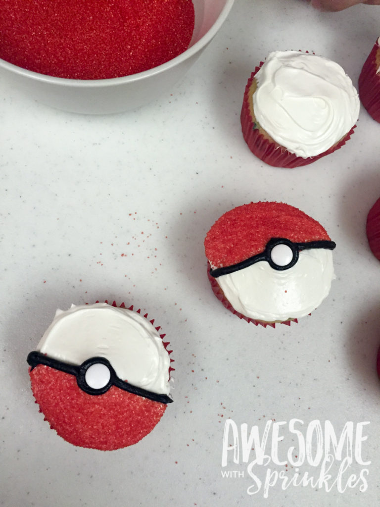 Poké Ball Cupcakes by Awesome with Sprinkles