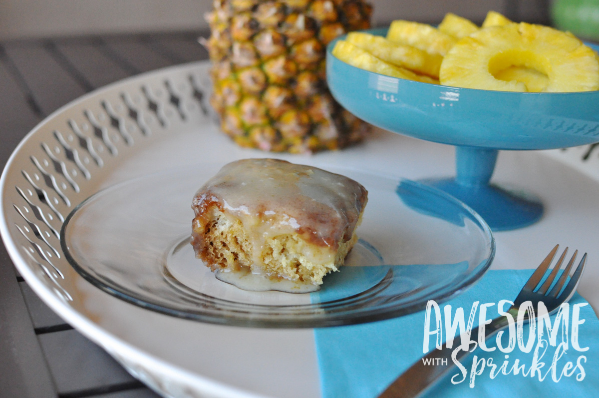 Gooey Pineapple Crush Cake | Get the recipe from Awesome with Sprinles