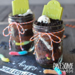 Ghostly Graveyard Pudding Dirt Cups in Mason Jars