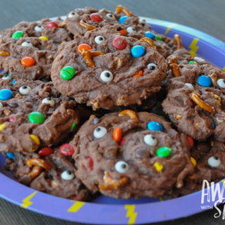 Chocolate, Peanut Butter & Pretzel Monster Mashup Cookies (aka Monsturds)