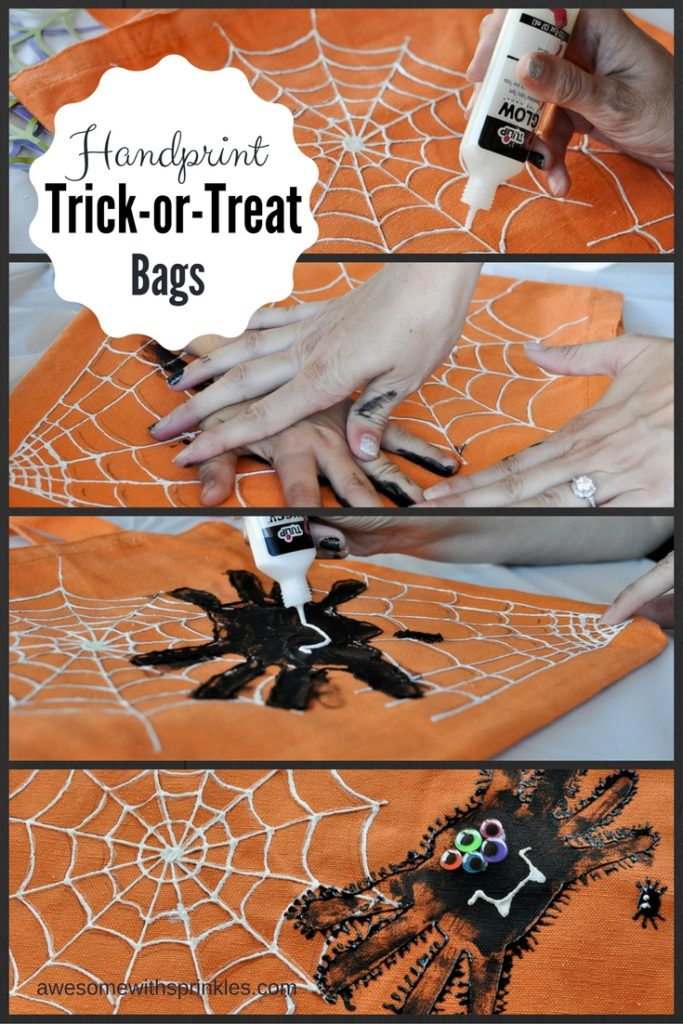 Kids Craft: Handprint Spider Trick-or-Treat Bags by Awesome with Sprinkles
