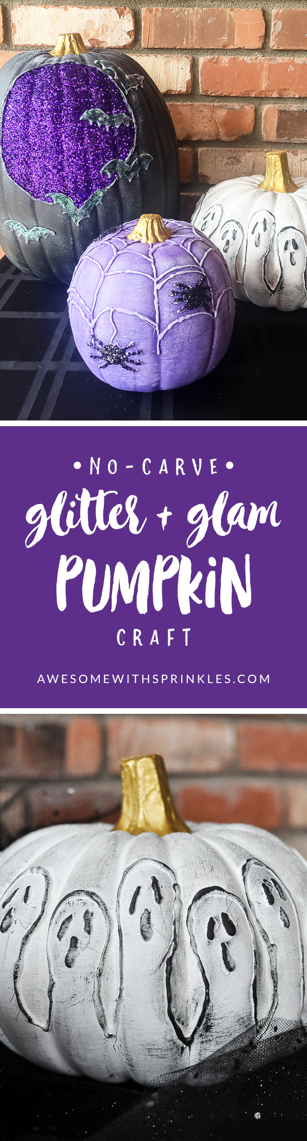 No-Carve Glitter + Glam Pumpkins | Awesome with Sprinkles