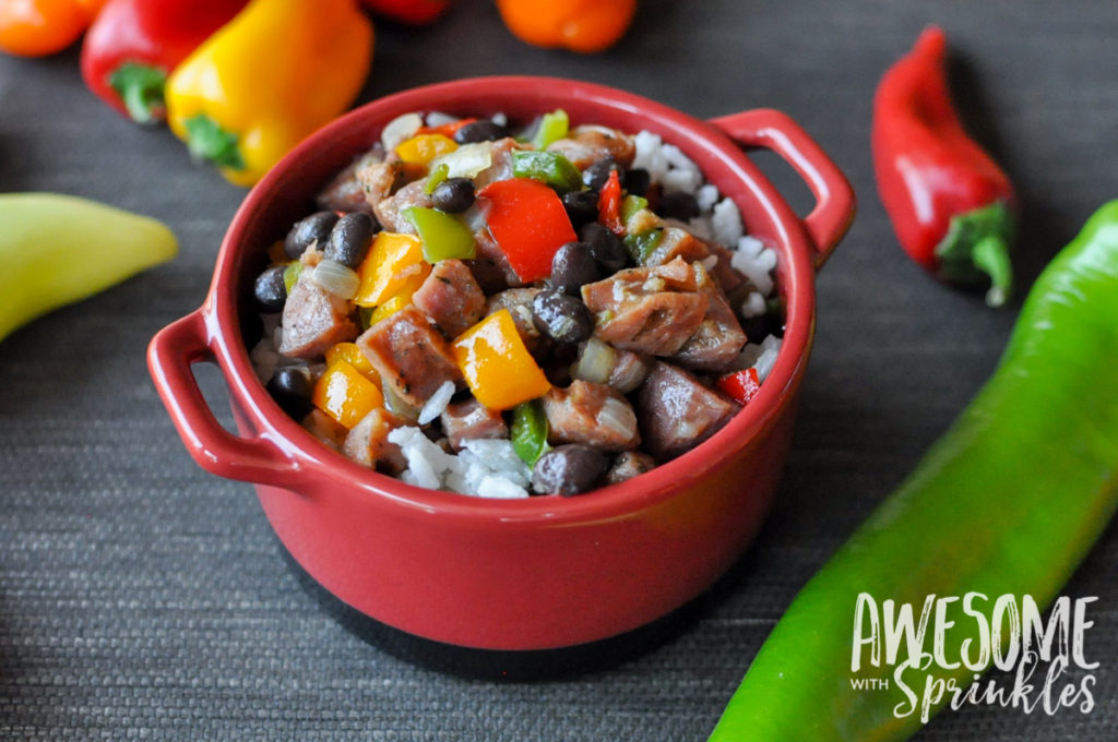 Hot Pepper Hash with Chicken Sausage & Coconut Rice | Awesome with Sprinkles