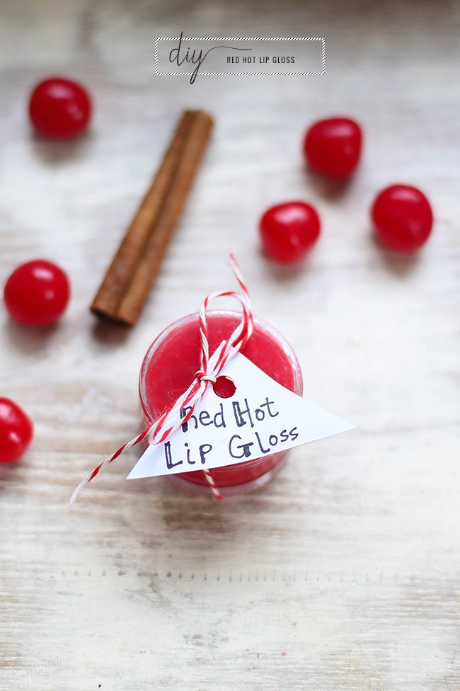 Red Hot Lip Gloss from DIY Galentine's Day Gift Ideas Round Up || Awesome with Sprinkles
