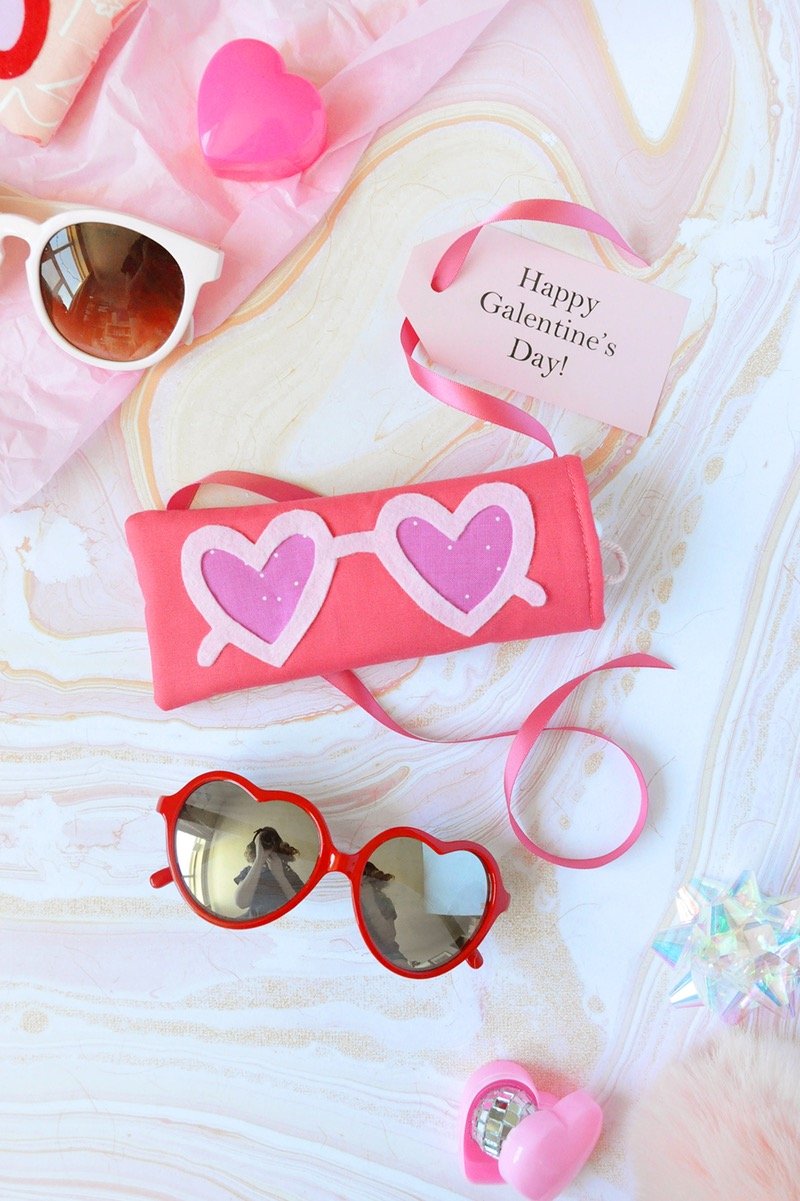 Heart Sunnies Sunglasses Case from DIY Galentine's Day Gift Ideas Round Up || Awesome with Sprinkles
