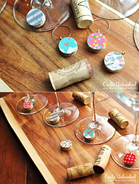 Washi Tape Wine Charms from DIY Galentine's Day Gift Ideas Round Up || Awesome with Sprinkles