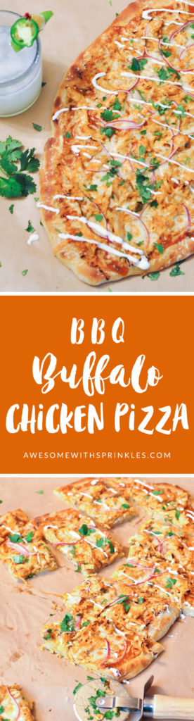 A tangy BBQ sauce with spicy buffalo sauce and chopped jalapeños makes for a fiery chicken pizza that is sure to give your tastebuds a treat! | Awesome with Sprinkles
