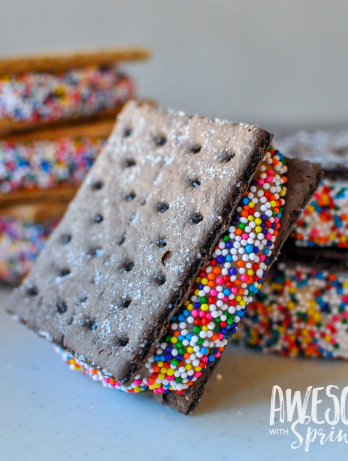Frozen Frosting Sandwich Cookies   Awesome with Sprinkles