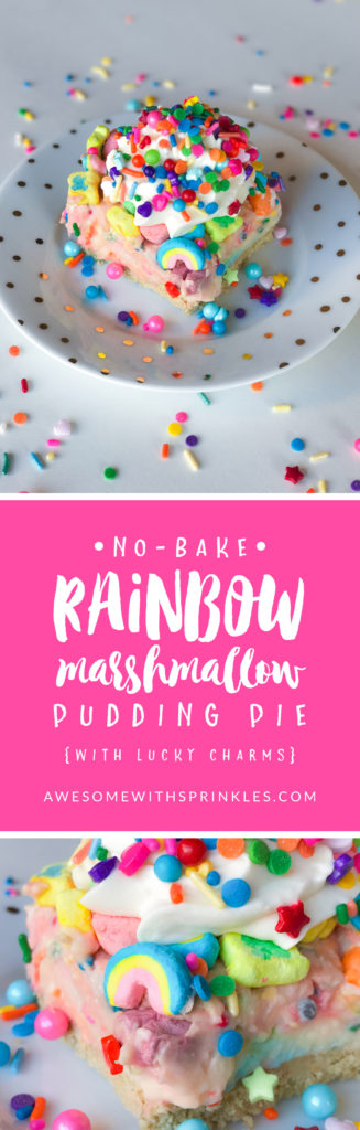 No-Bake Rainbow Marshmallow Pudding Pie (with Lucky Charms) // by Awesome with Sprinkles