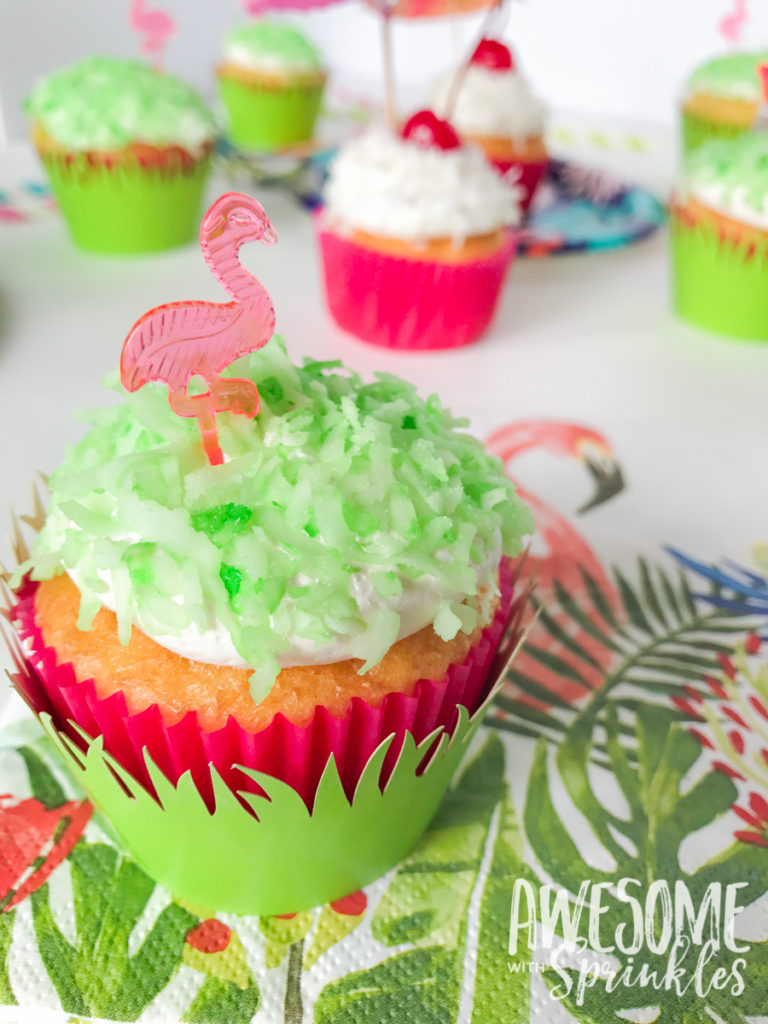 Piña Colada Cupcakes for a cute flamingo lawn party theme | Awesome with Sprinkles