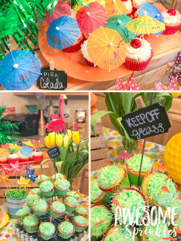 """Lawn Party"" Piña Colada Cupcakes and table setup"