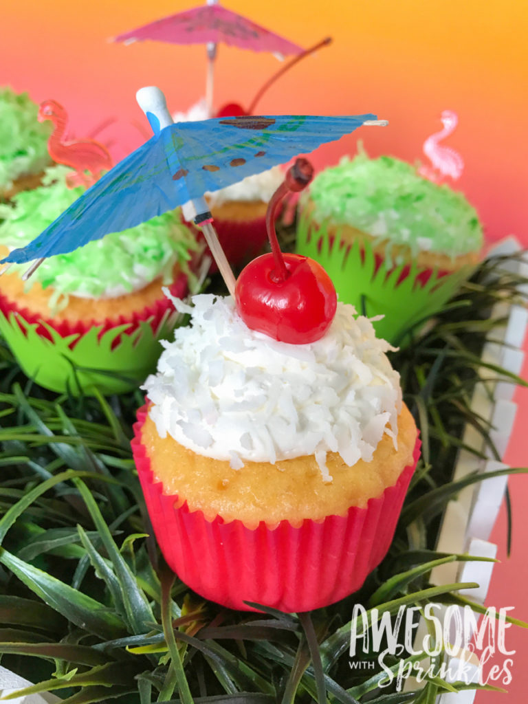 Piña Colada Cupcakes with Fluffy Coconut Frosting by Awesome with Sprinkles
