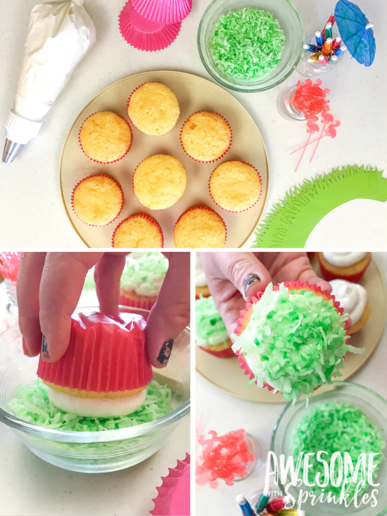 """Lawn Party"" Piña Colada Cupcakes"