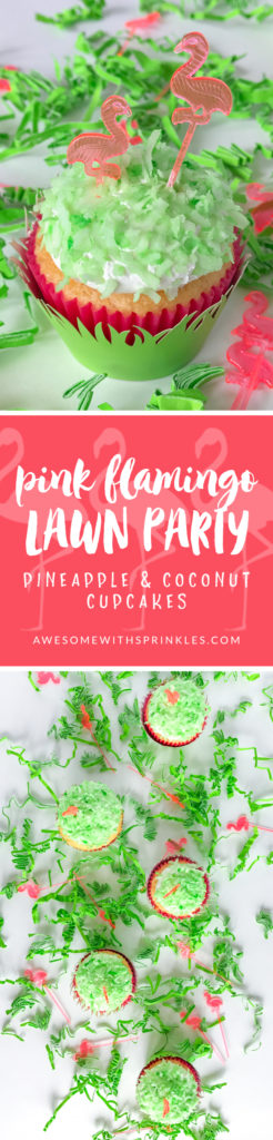Pineapple & Coconut Cupcakes for a cute flamingo lawn party theme | Awesome with Sprinkles