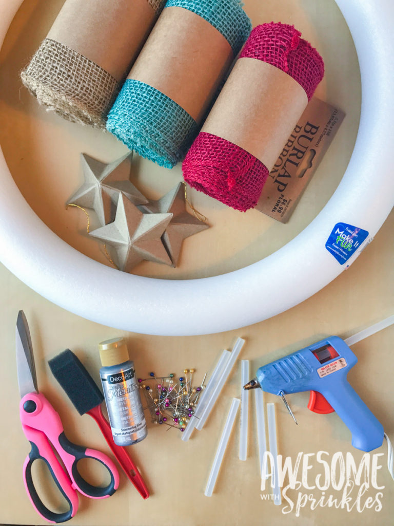 Flag Burlap Ruffle Wreath   Awesome with Sprinkles