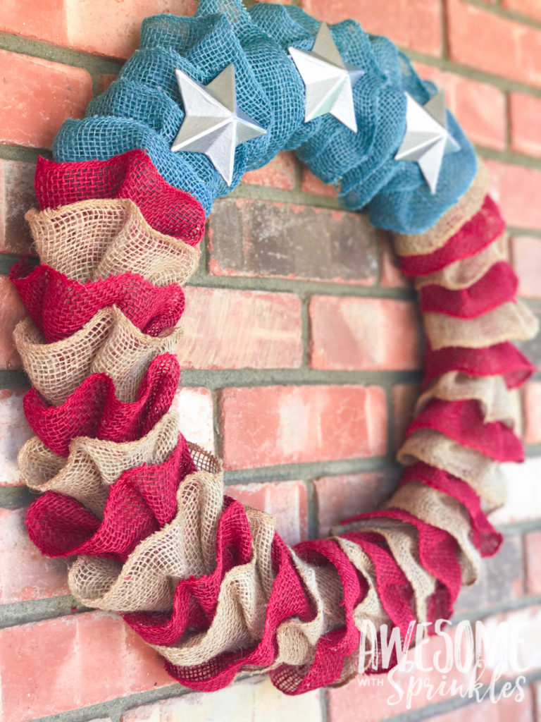 Flag Burlap Ruffle Wreath | Awesome with Sprinkles