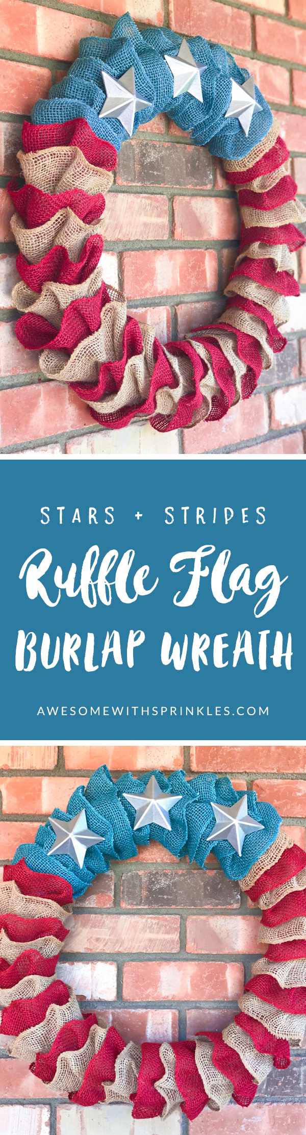 Stars + Stripes DIY Pottery Barn Copycat Flag Ruffle Wreath for Fourth of July! | Awesome with Sprinkles