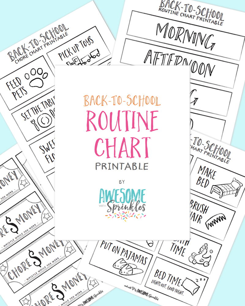Download and print this handy routine chart! Just in time for Back-to-School!