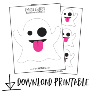 image about Emoji Template Printable called Emoji Ghost Banner with Cricut Template and Printable