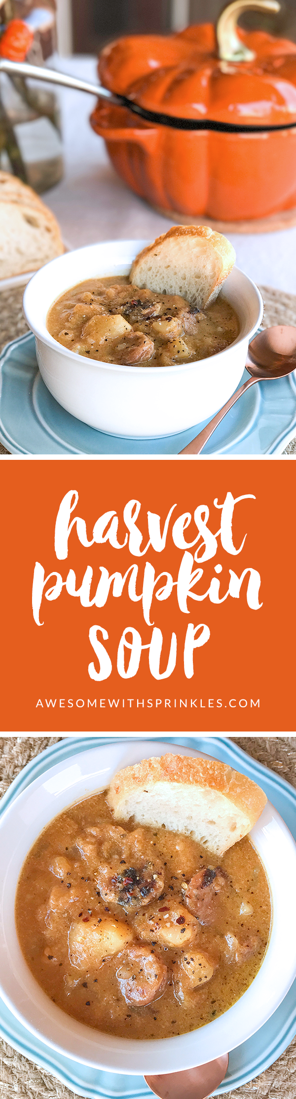 Harvest Pumpkin Soup with Apple,Potato and Sausage | Awesome with Sprinkles
