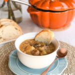 Harvest Pumpkin Soup with Apple, Potato and Sausage