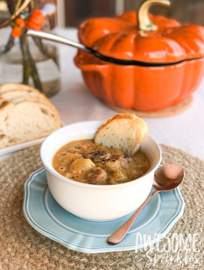 Hearty Harvest Pumpkin Potato Sausage Soup