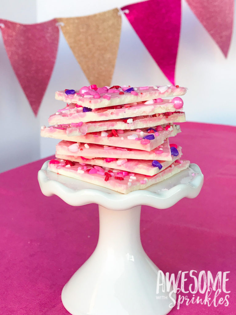 Strawberry Swirl White Chocolate Bark for GALentine's Day | Awesome with Sprinkles
