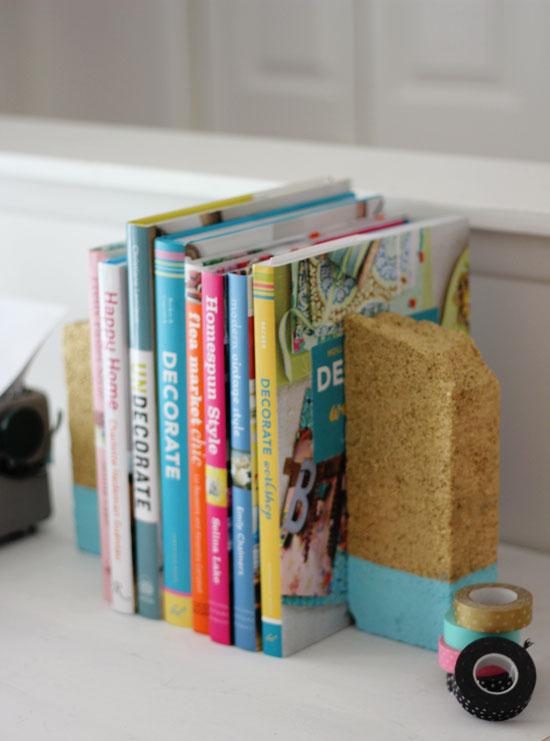 Easy DIY Decor Ideas - Colorblocked block bookends