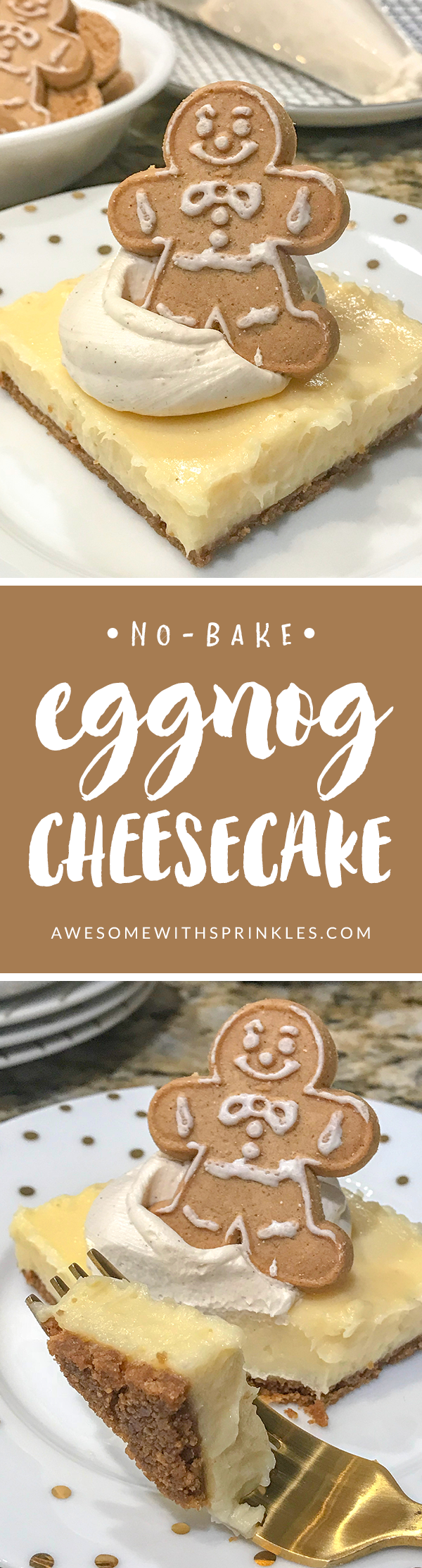 Easy No-Bake Eggnog Cheesecake will be your new holiday favorite! | Awesome with Sprinkles